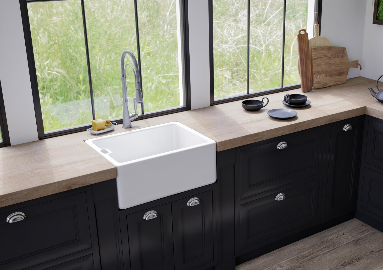 High-quality sink Clovis - single bowl, ceramic - ambience 1