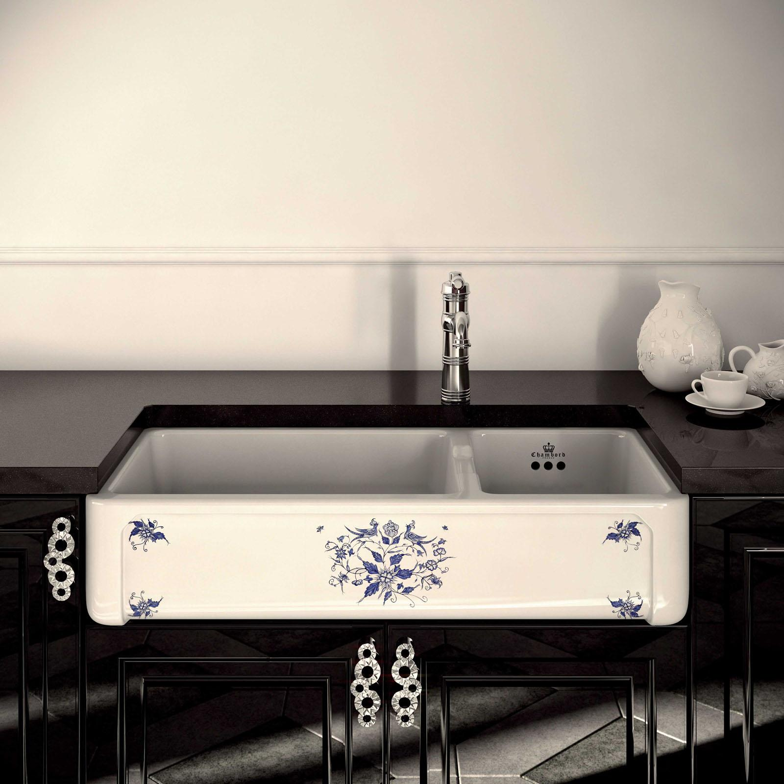 High-quality sink Henri III Moustiers - one and a half bowl, decorated ceramic - ambience