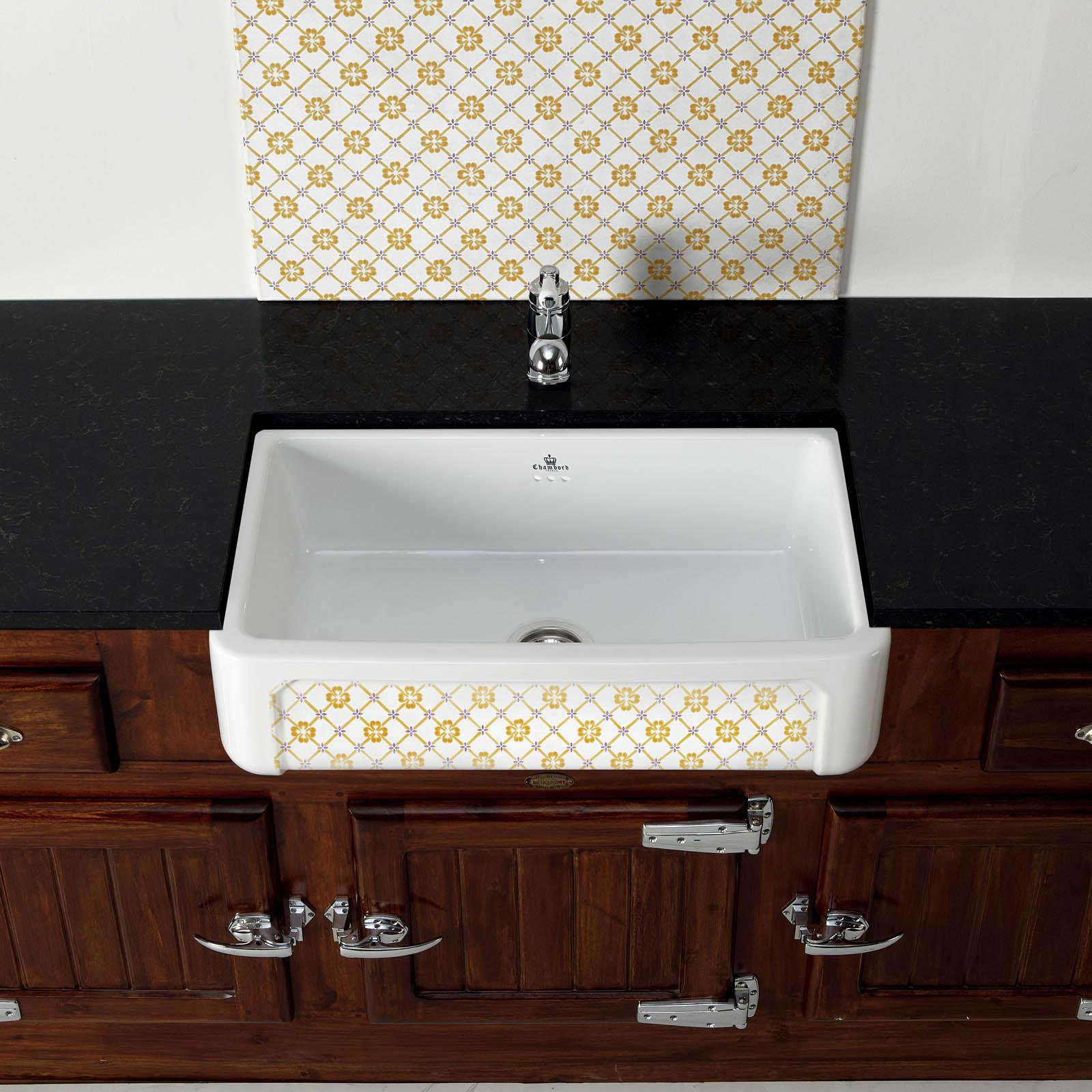 High-quality sink Henri II Provence - single bowl, decorated ceramic - ambience