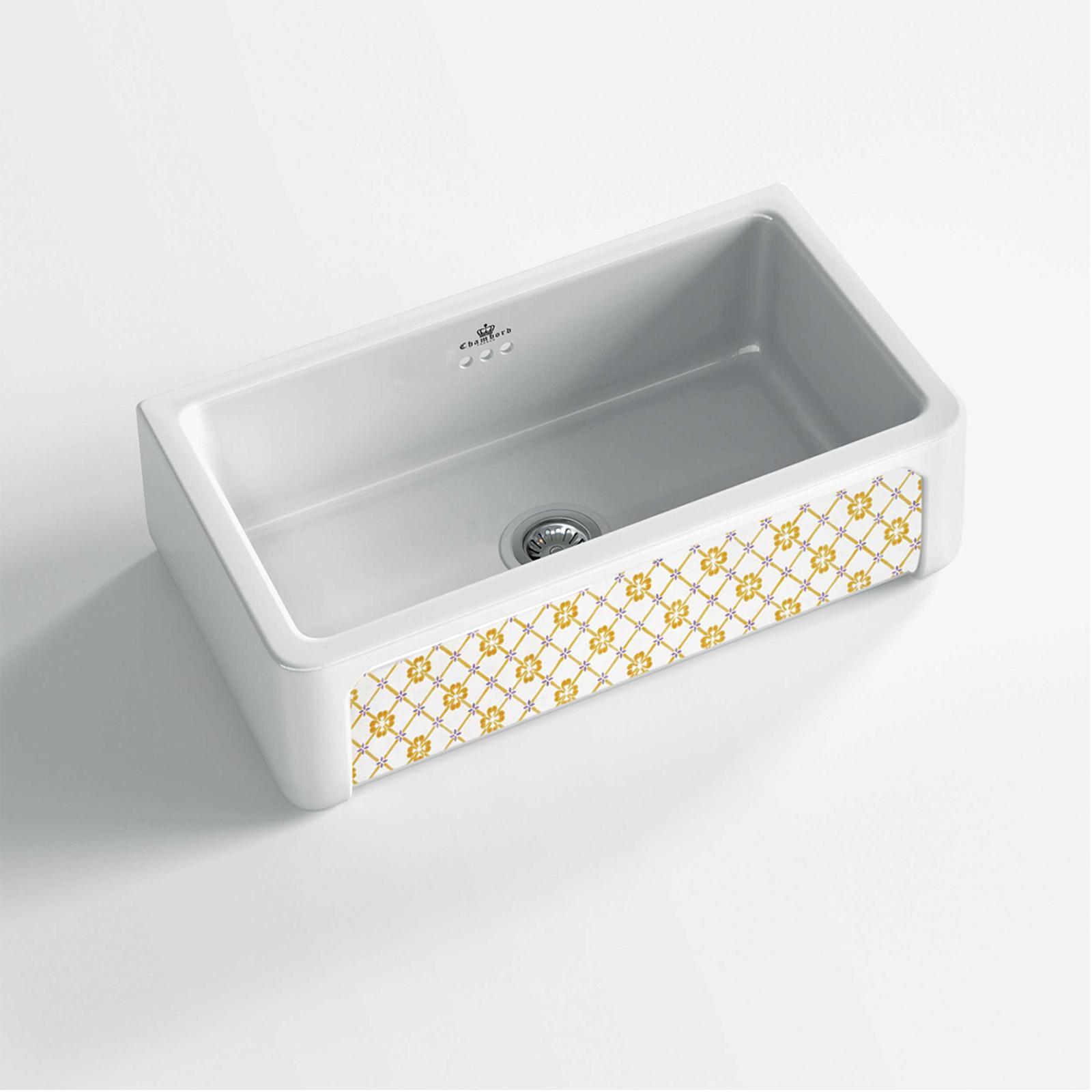 High-quality sink Henri II Provence - single bowl, decorated ceramic