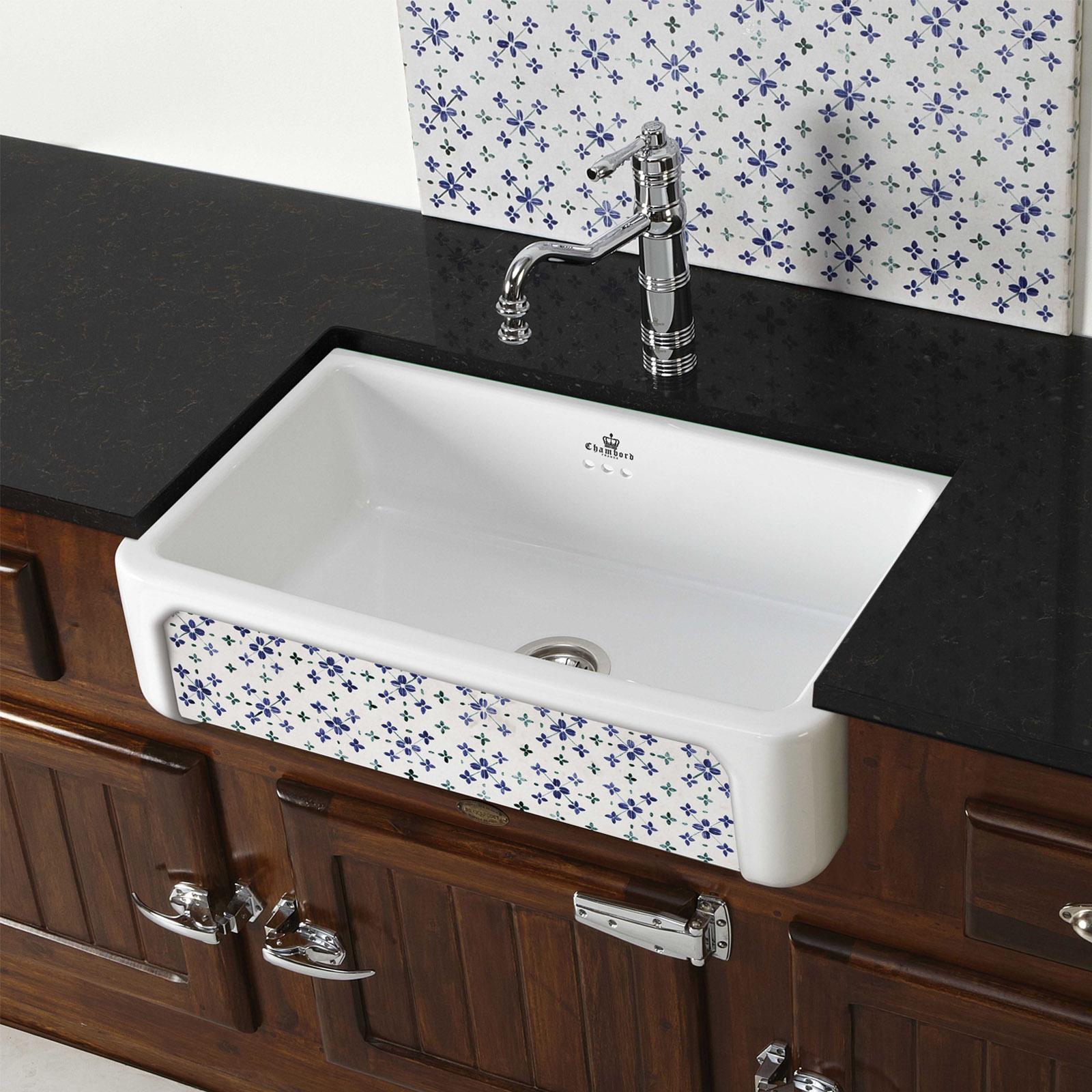 High-quality sink Henri II Bretagne - single bowl, decorated ceramic - ambience 2