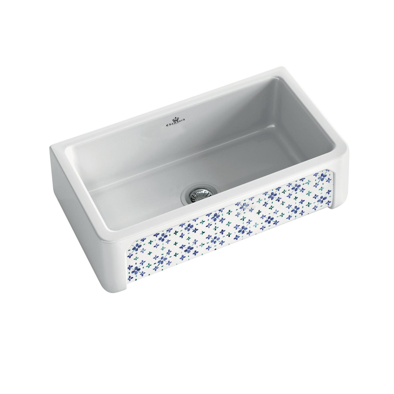 High-quality sink Henri II Bretagne - single bowl, decorated ceramic - ambience 3