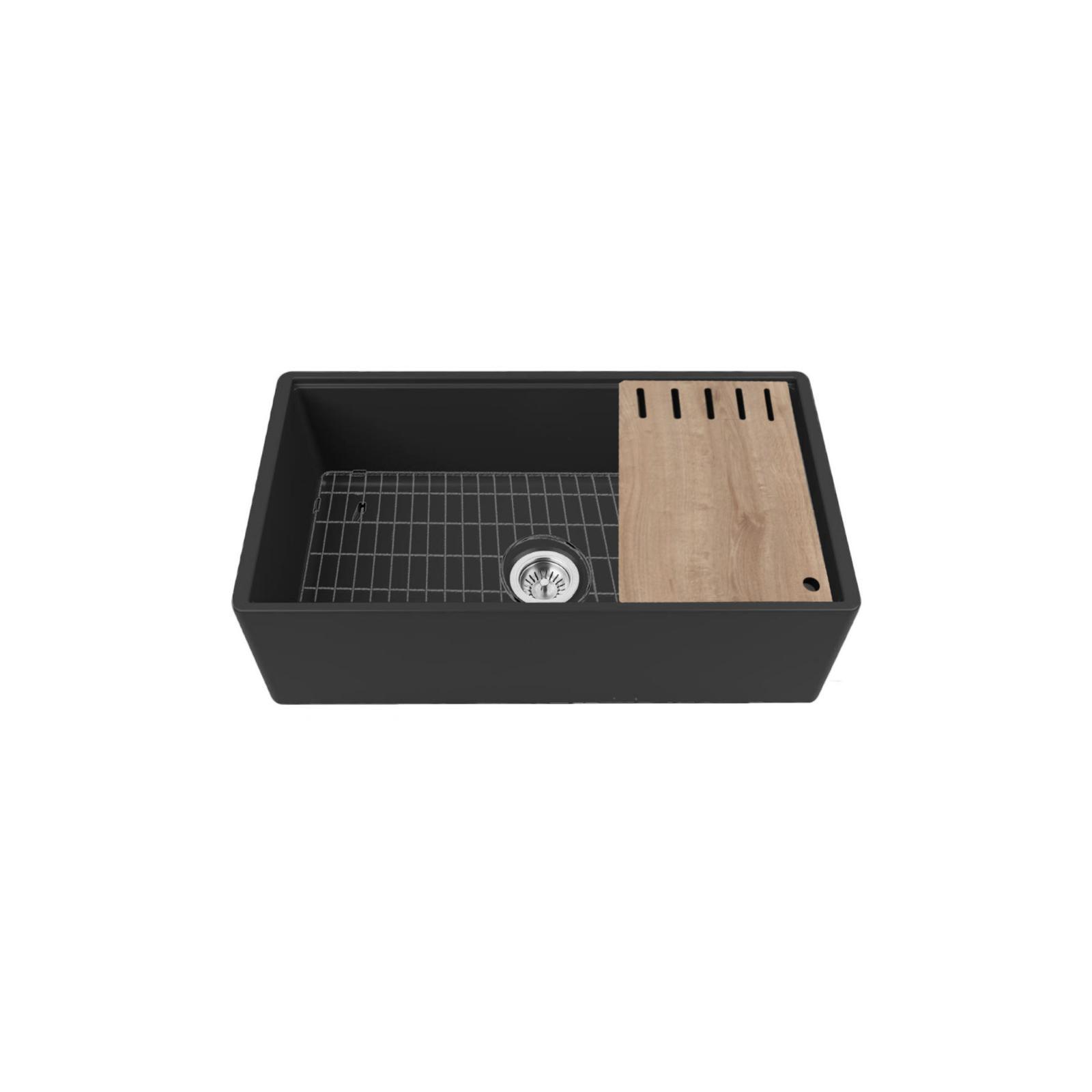 High-quality sink Louis Le Grand III black - single bowl, ceramic - 3
