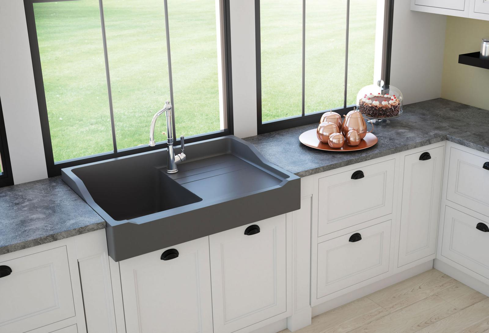 High-quality sink François 1er granit titanium gray - one bowl ambiente