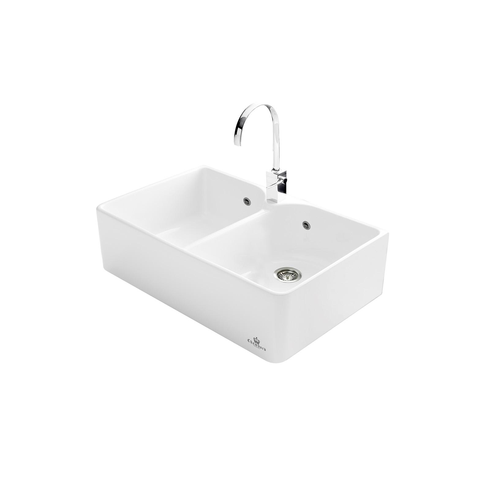 High-quality sink Clotaire II - two bowls, ceramic - ambience