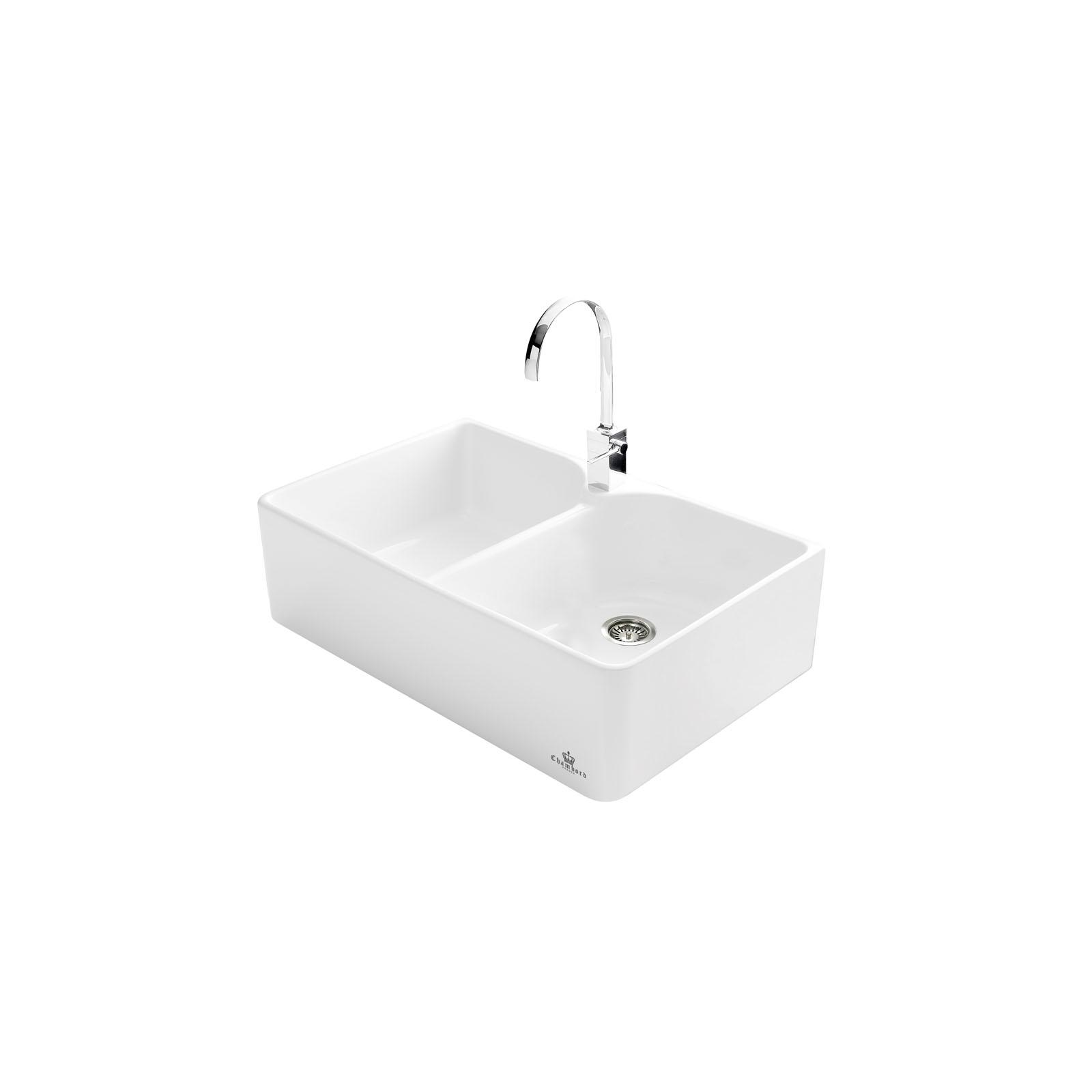 High-quality sink Clotaire II - two bowls, ceramic - ambience 2