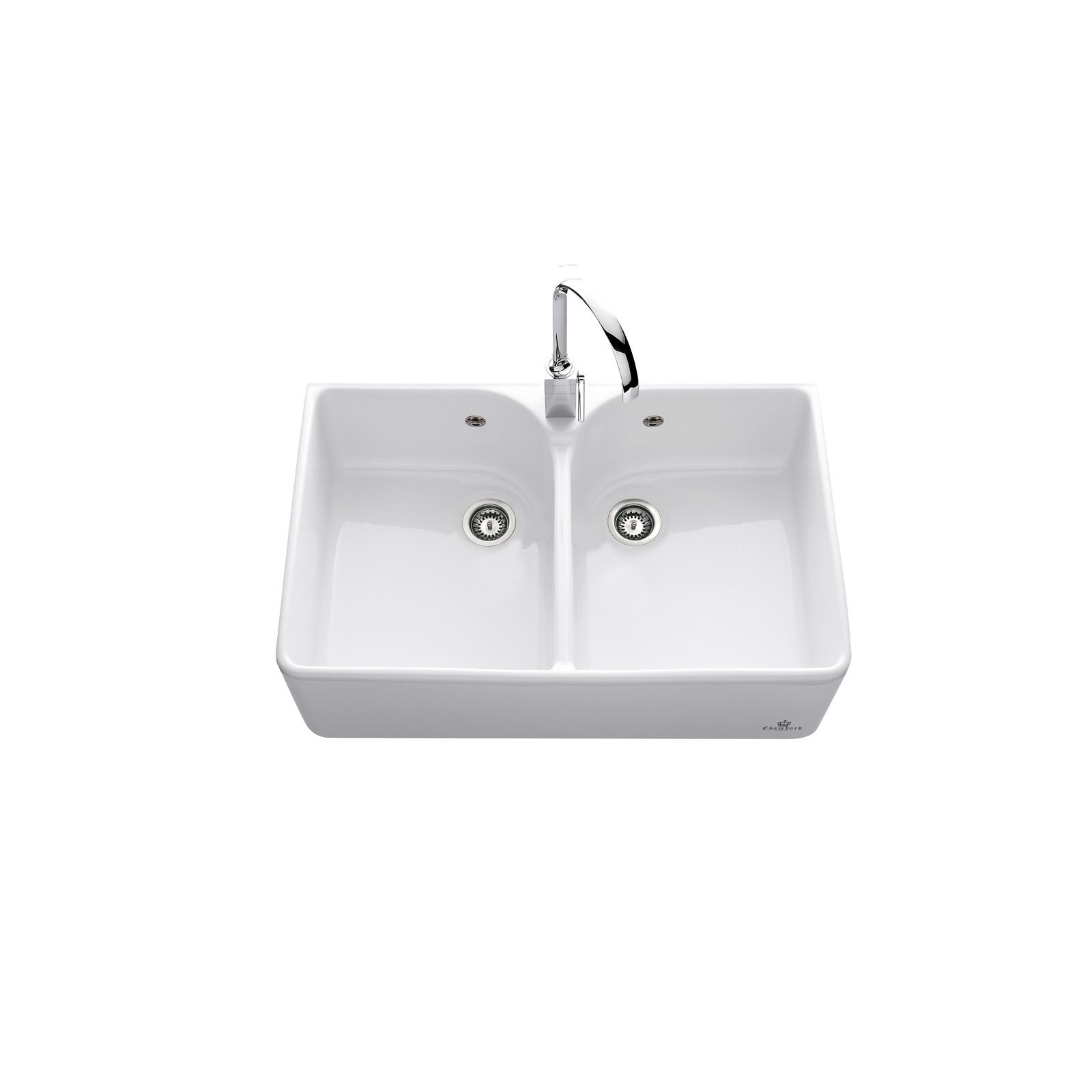 High-quality sink Clotaire II - two bowls, ceramic
