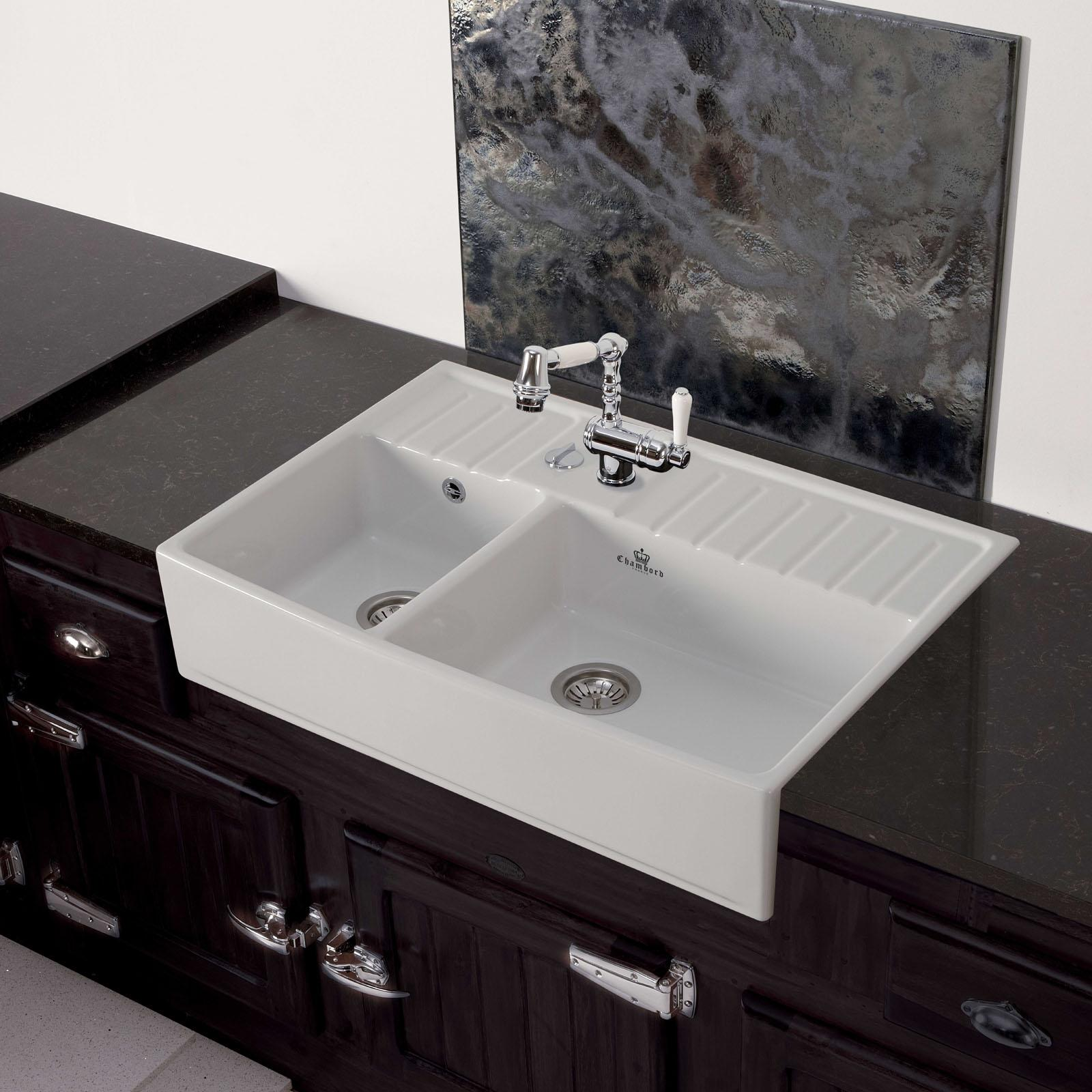 High-quality sink Clotaire III - one and a half bowl, ceramic - ambience 1