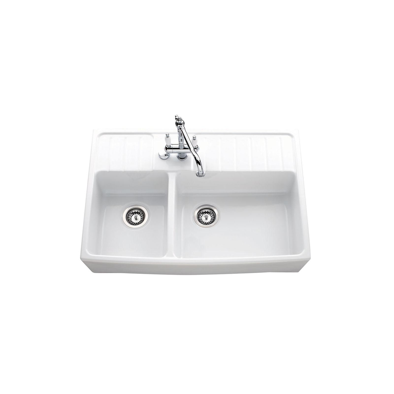 High-quality sink Clotaire III - one and a half bowl, ceramic - ambience 3