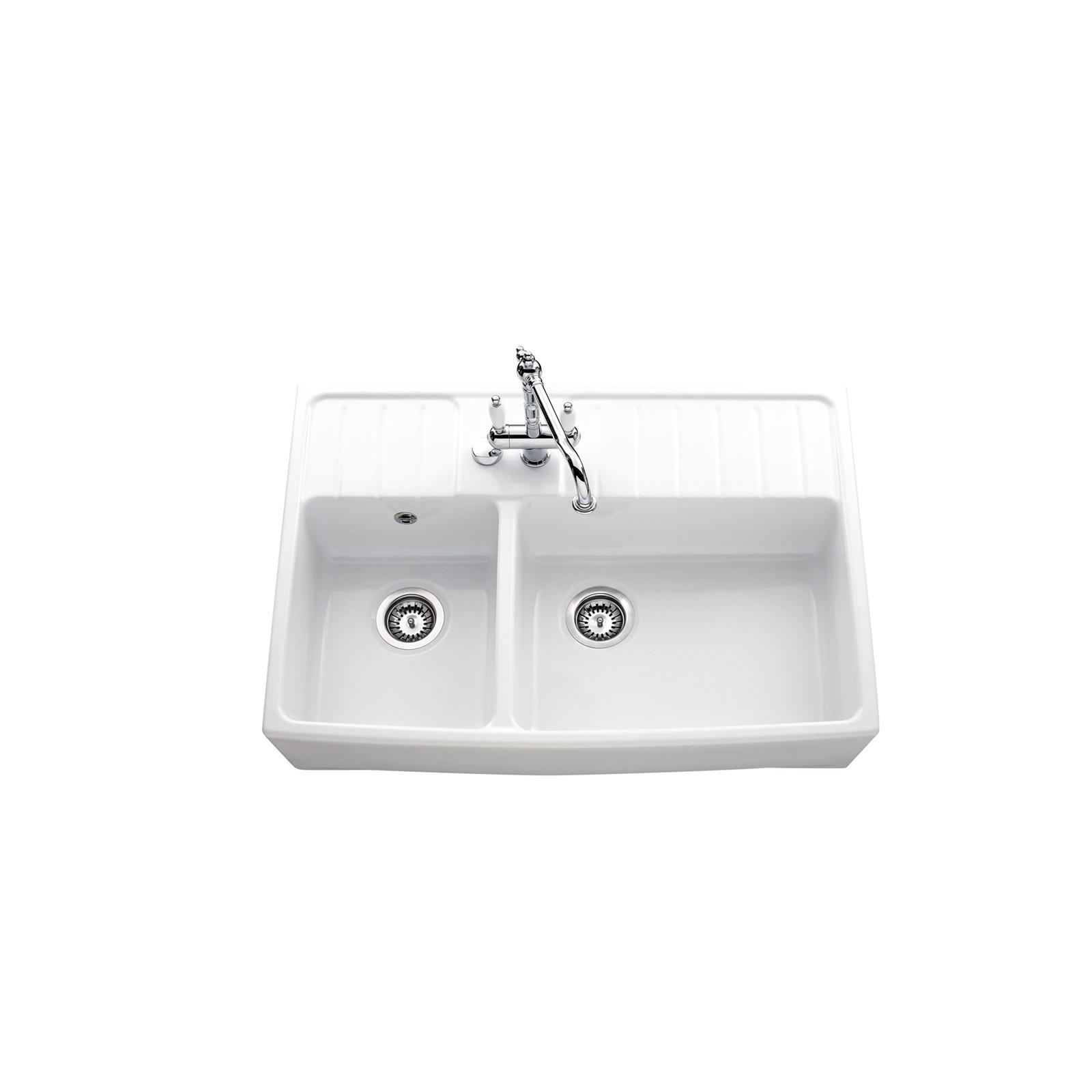 High-quality sink Clotaire III - one and a half bowl, ceramic