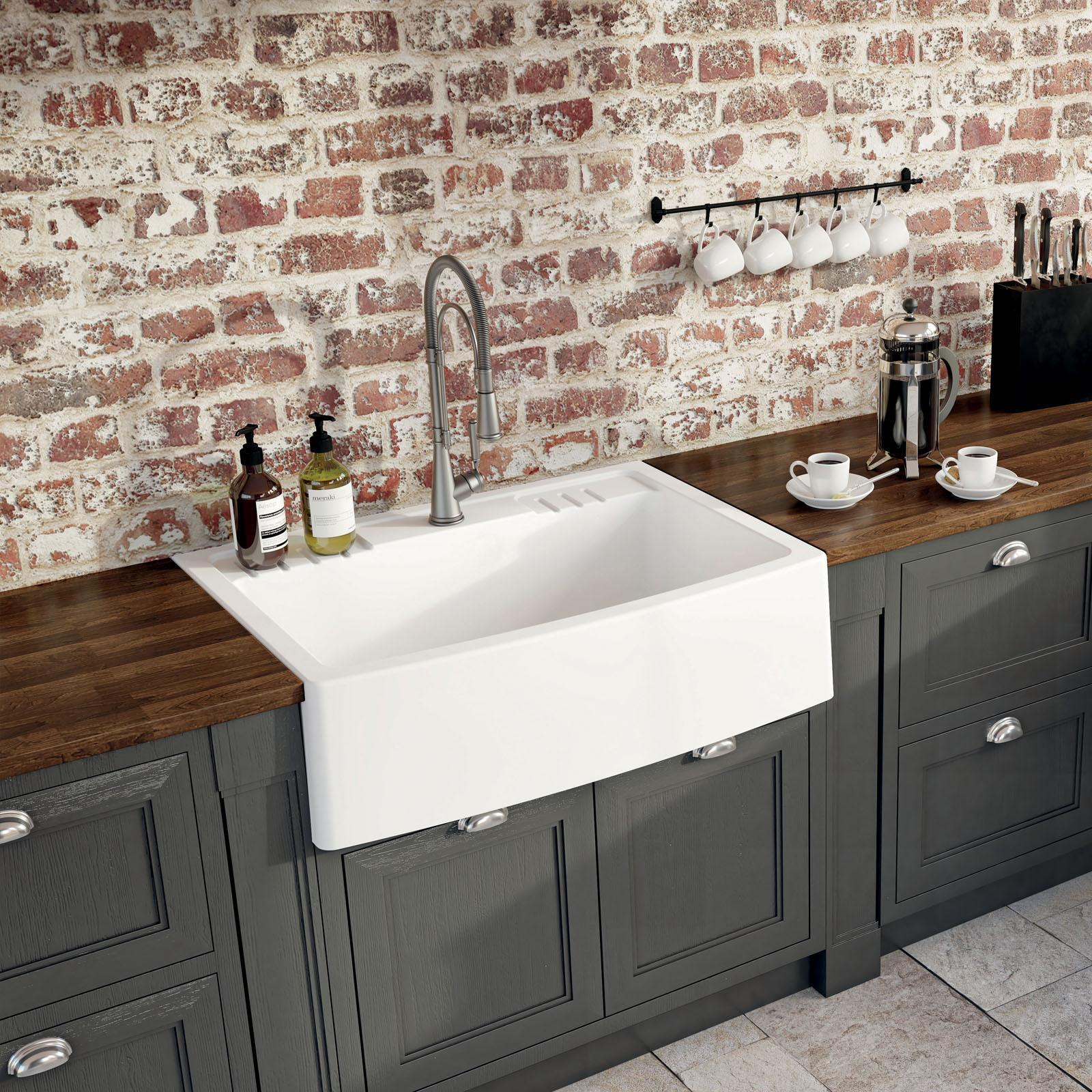 High-quality sink Clotaire IV granit white - one bowl - ambience