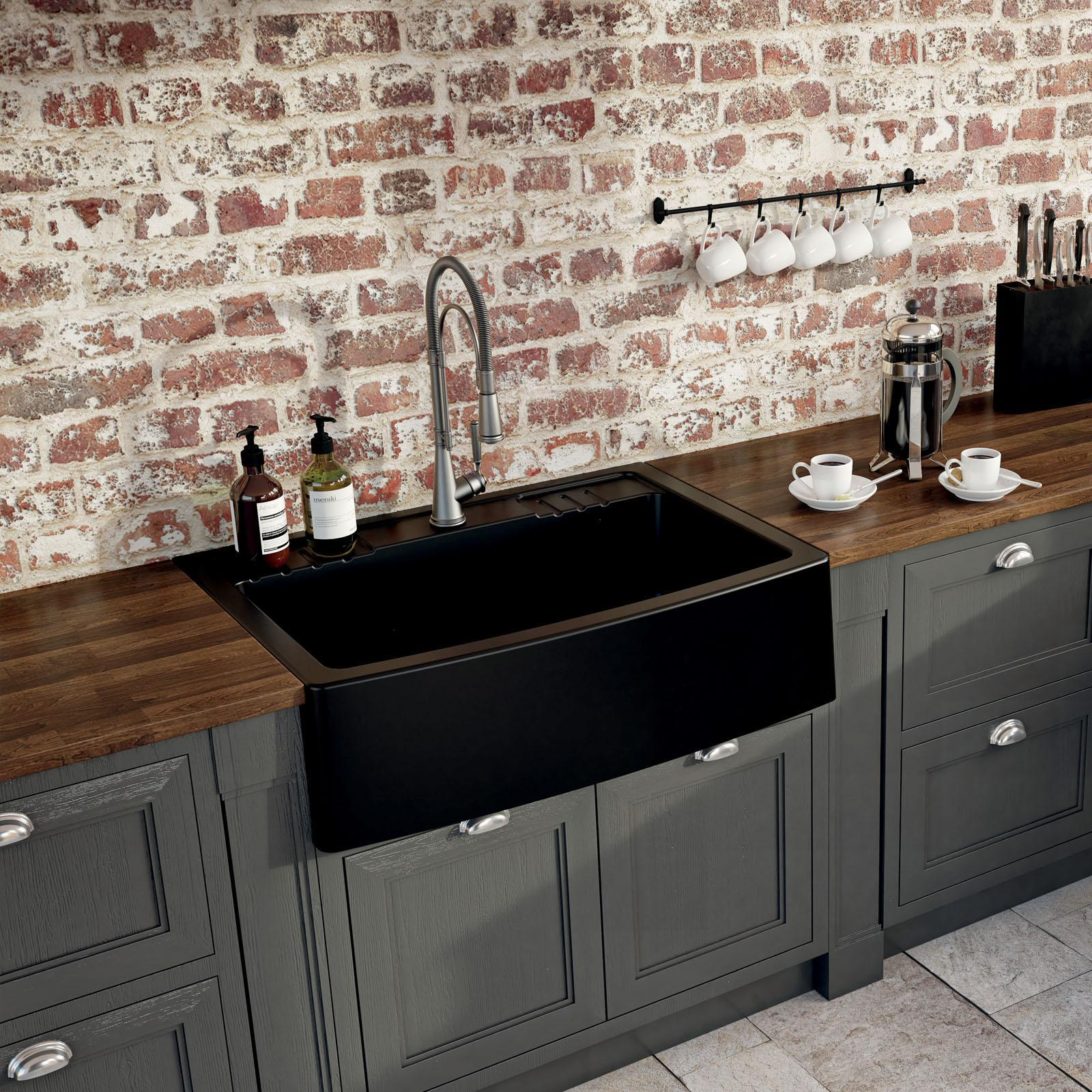High-quality sink Clotaire IV granit black - one bowl - ambience