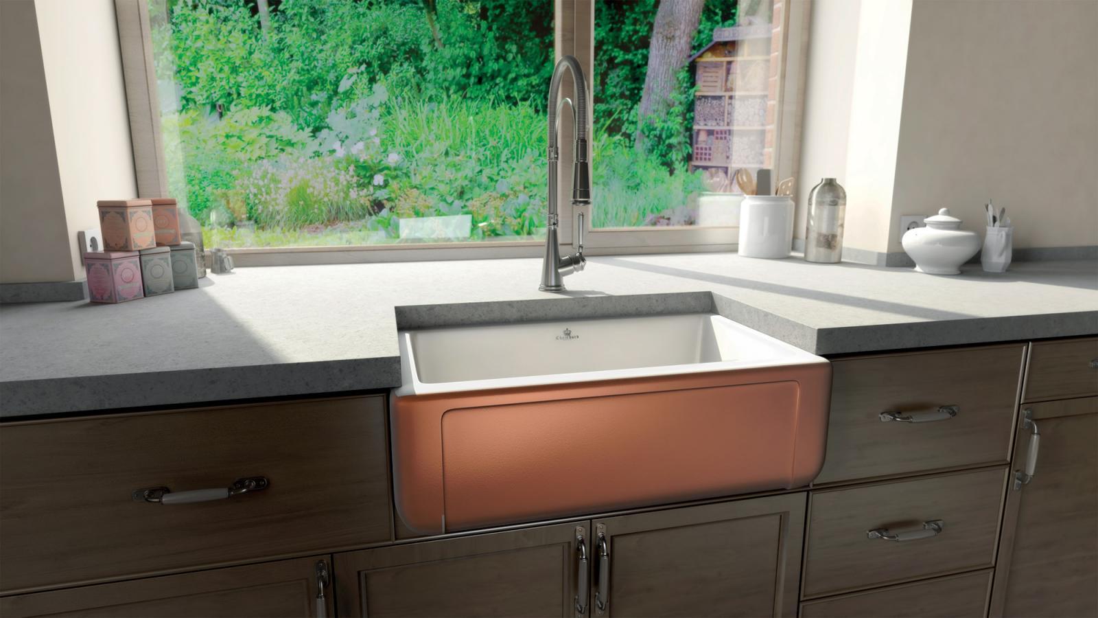 High-quality sink Henri II Le Grand Copper - single bowl, ceramic