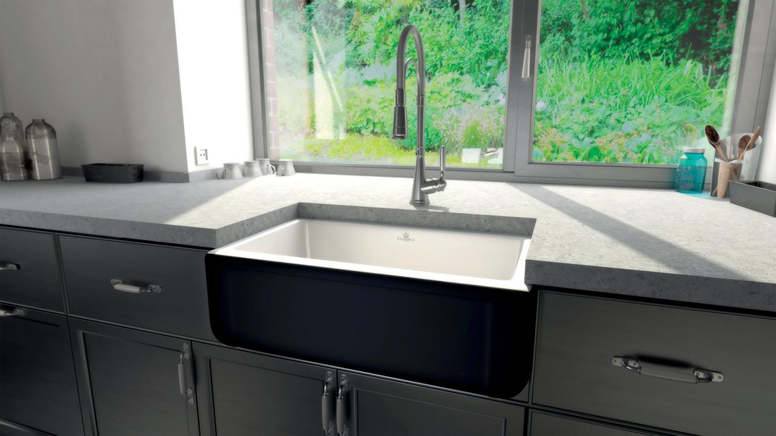 High-quality sink Henri II Le Grand Black - single bowl, ceramic