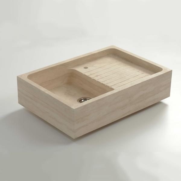 High-quality sink Charles I - single bowl, travertine