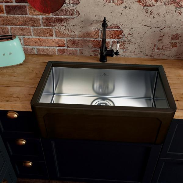 High-quality sink Dagobert black - single bowl, leather - ambience 1
