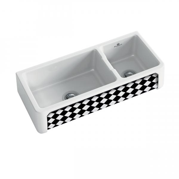 High-quality sink Henri III Arlequin - one and a half bowl, decorated ceramic ambience