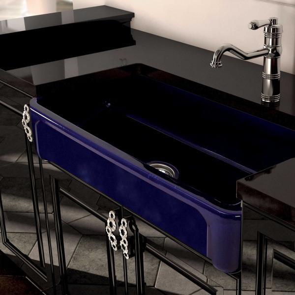 High-quality sink Henri II Bleu de Sèvres - single bowl, decorated ceramic