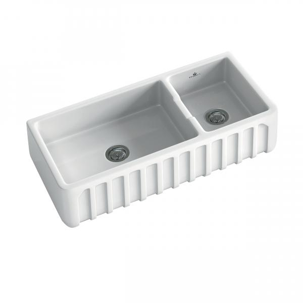High-quality sink Louis III - one and a half bowl, ceramic - ambience 3