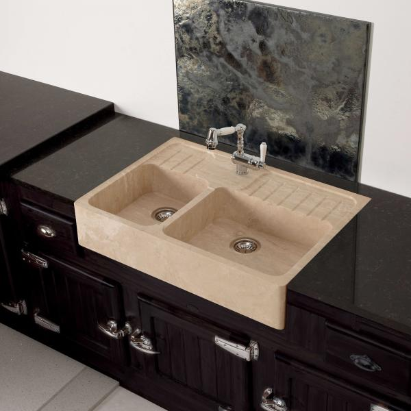 High-quality sink Charles II - one and a half bowl, travertine - ambience 1