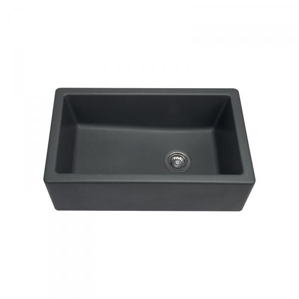 Evier haut de gamme Philippe II granit gris titanium - 1 bac