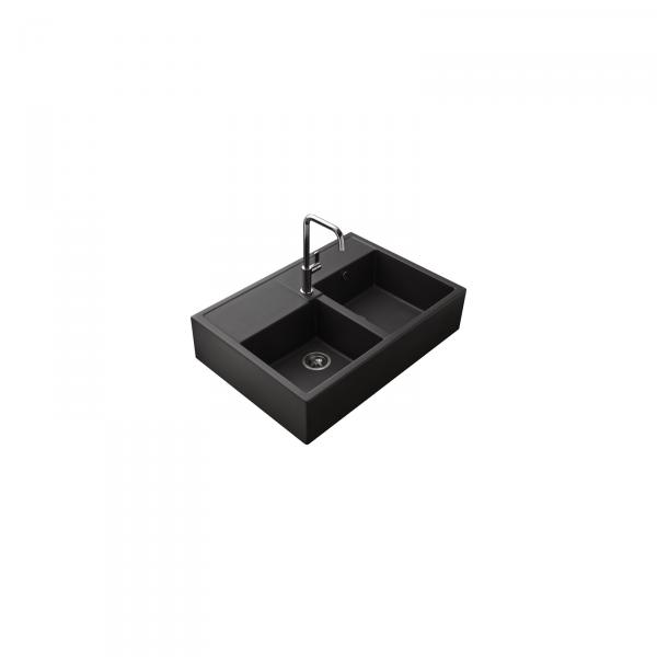 Evier haut de gamme Thibert III granit noir - 2 bacs