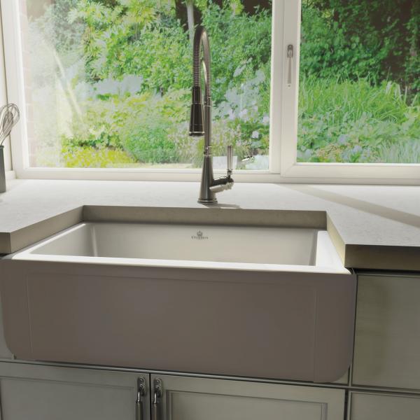 High-quality sink Henri II Le Grand Taupe - single bowl, ceramic