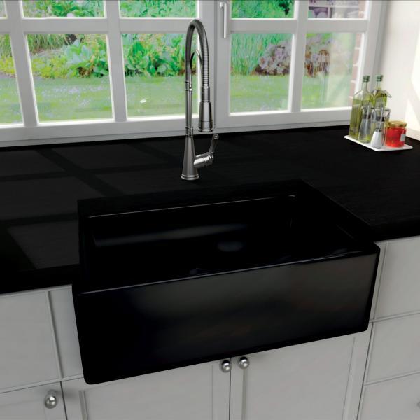 High-quality sink Philippe II Black - single bowl, ceramic - ambience 1