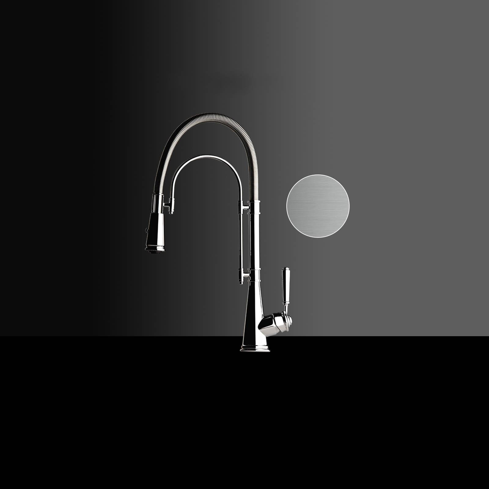 High-quality single lever tap Blaise - pull out spray - brushed nickel