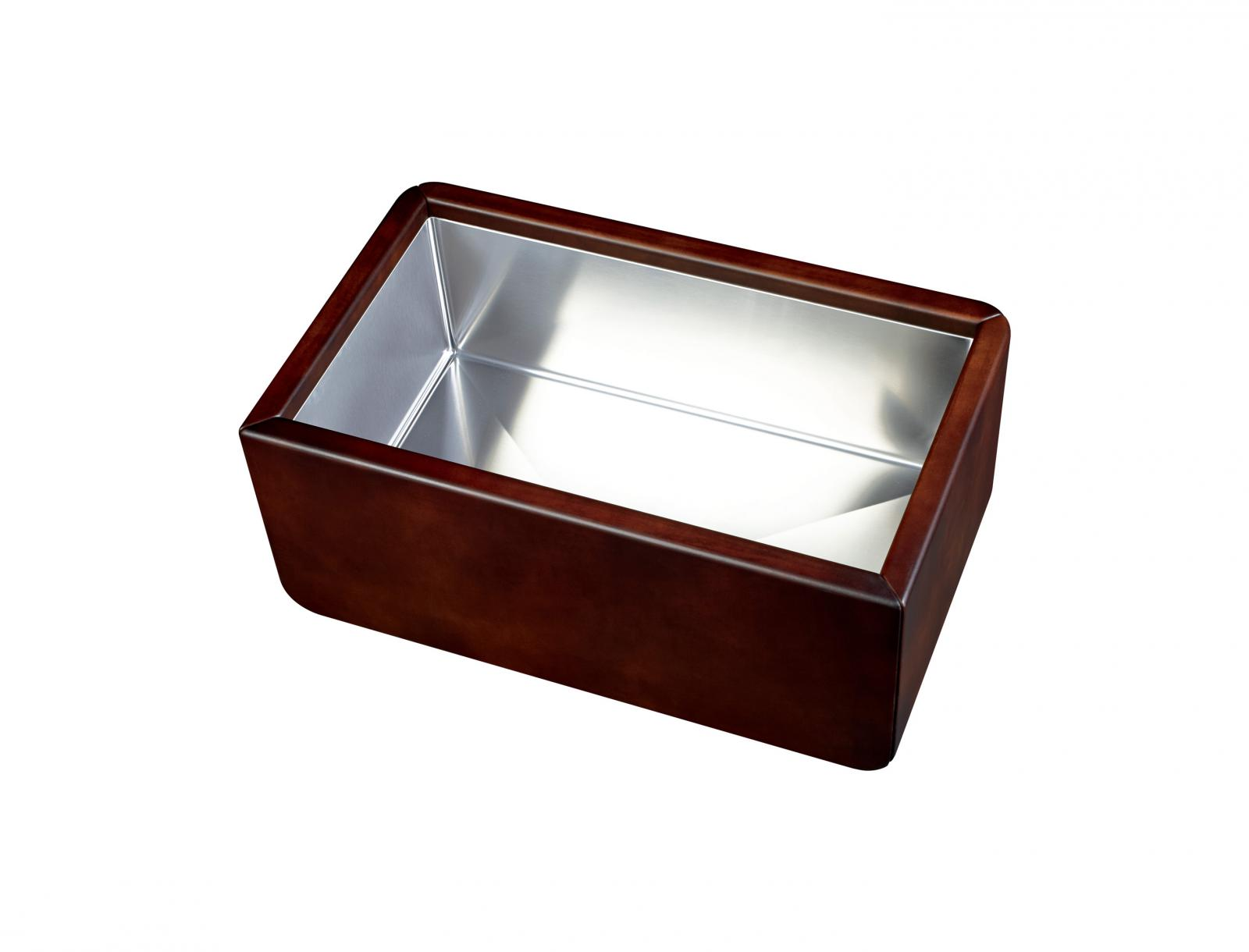 High-quality sink Dagobert brown - single bowl, leather - ambience 1