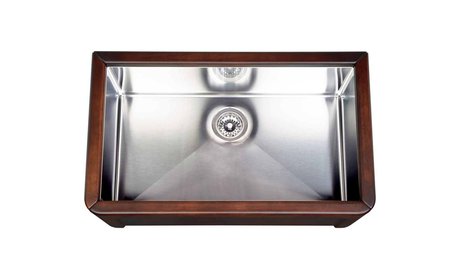 High-quality sink Dagobert brown - single bowl, leather - ambience 2