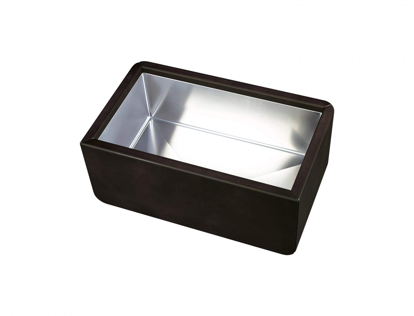 High-quality sink Dagobert black - single bowl, leather - 1