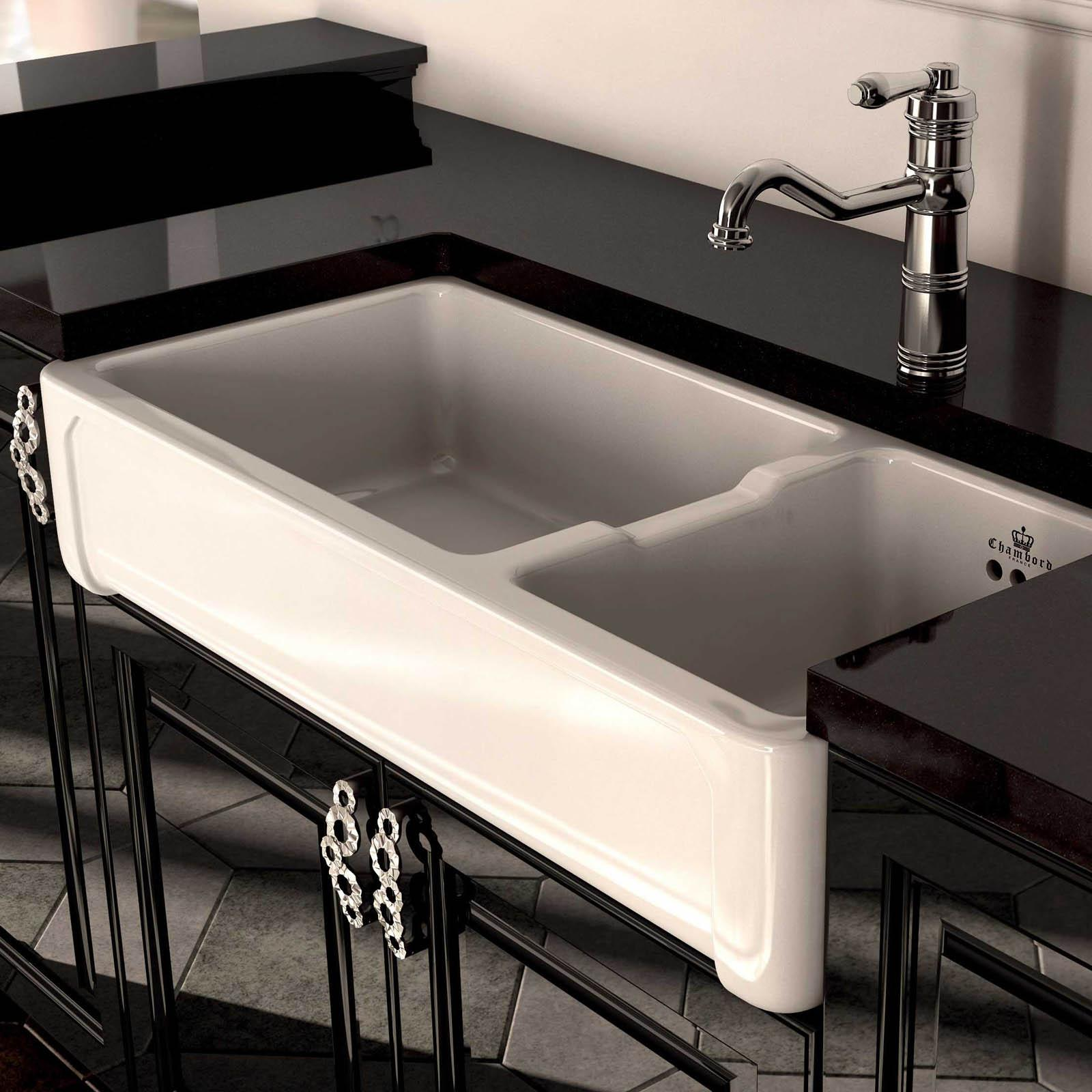 High-quality sink Henri III - one and a half bowl, ceramic - ambience 3