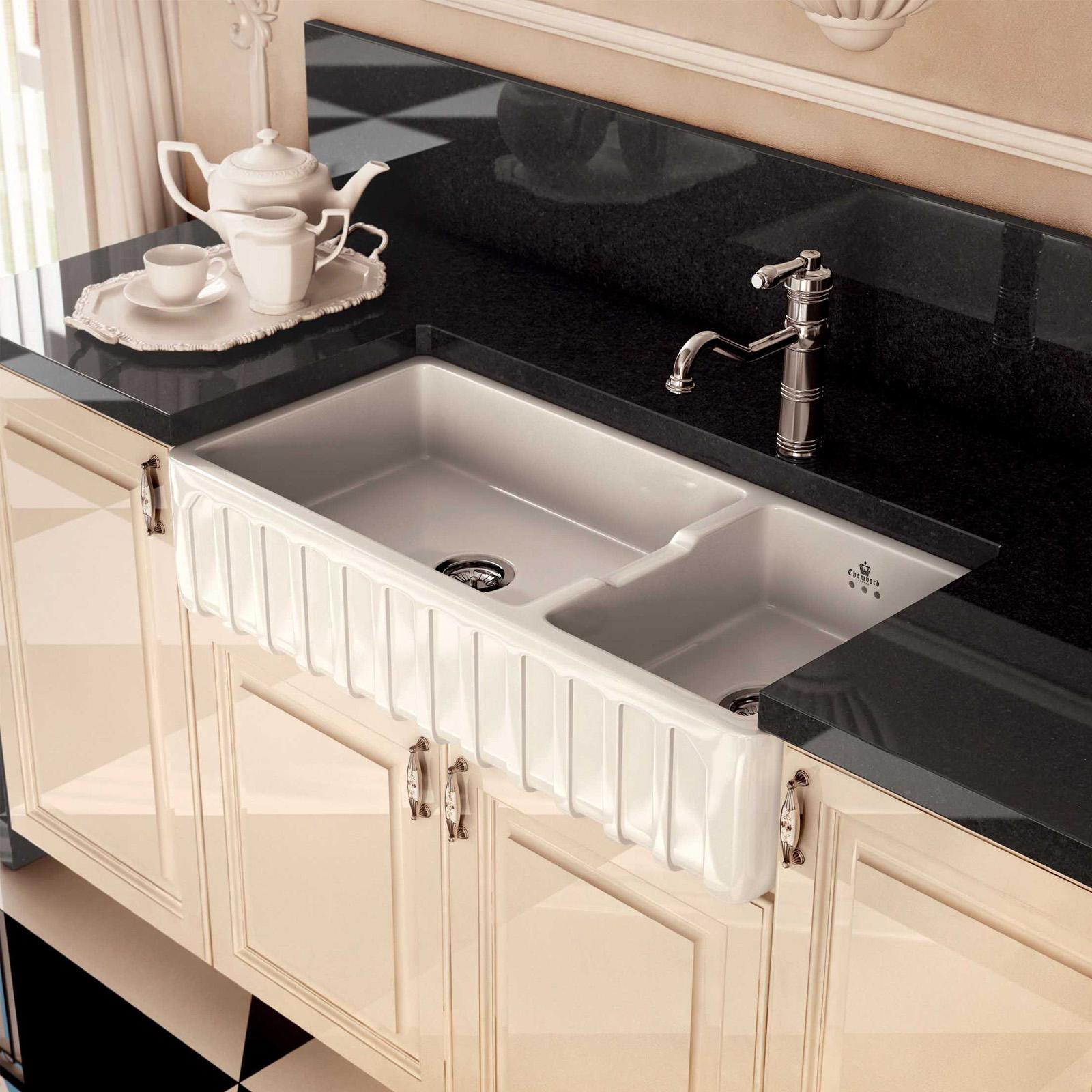 High-quality sink Louis III - one and a half bowl, ceramic - ambience 1