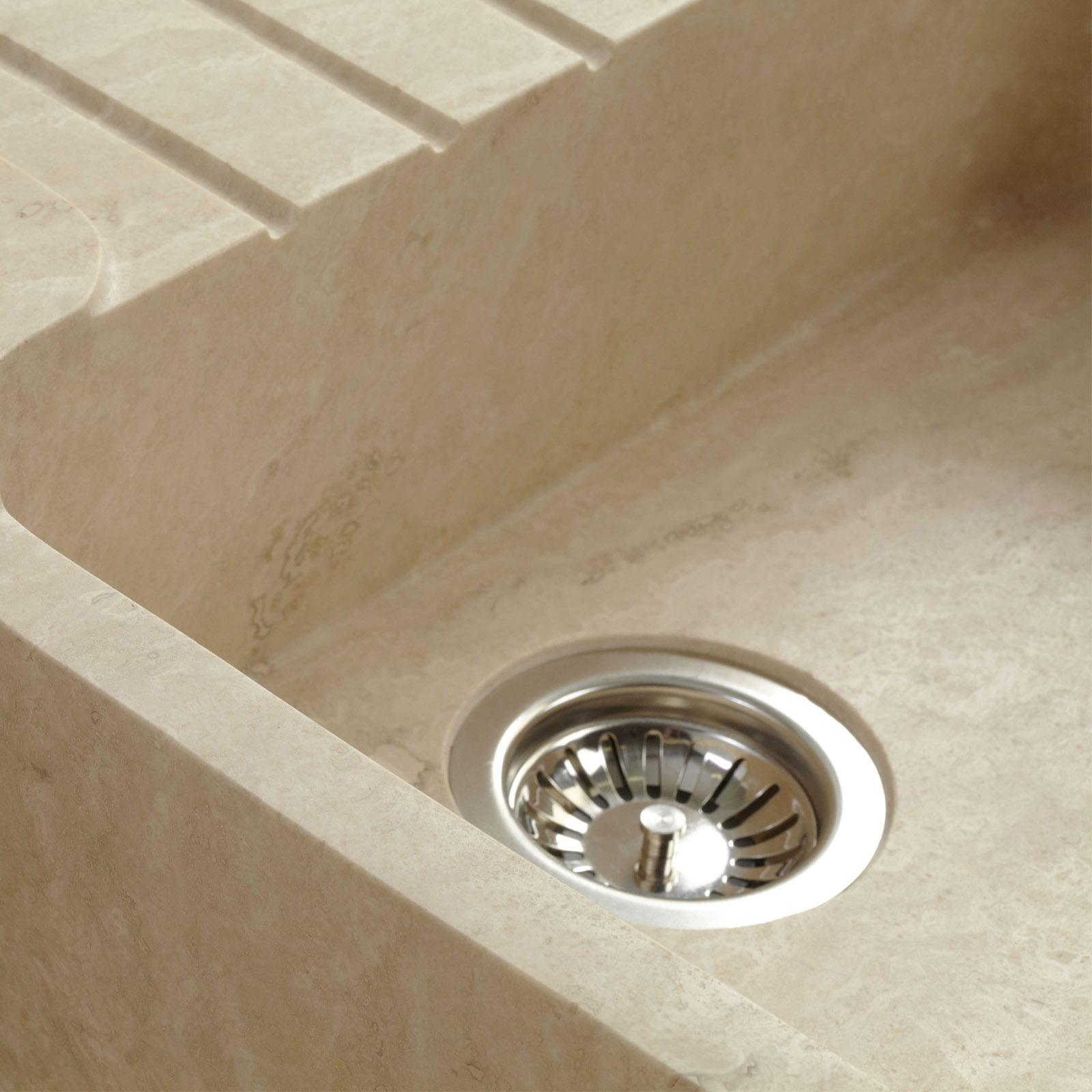 High-quality sink Charles II - one and a half bowl, travertine - ambience 2