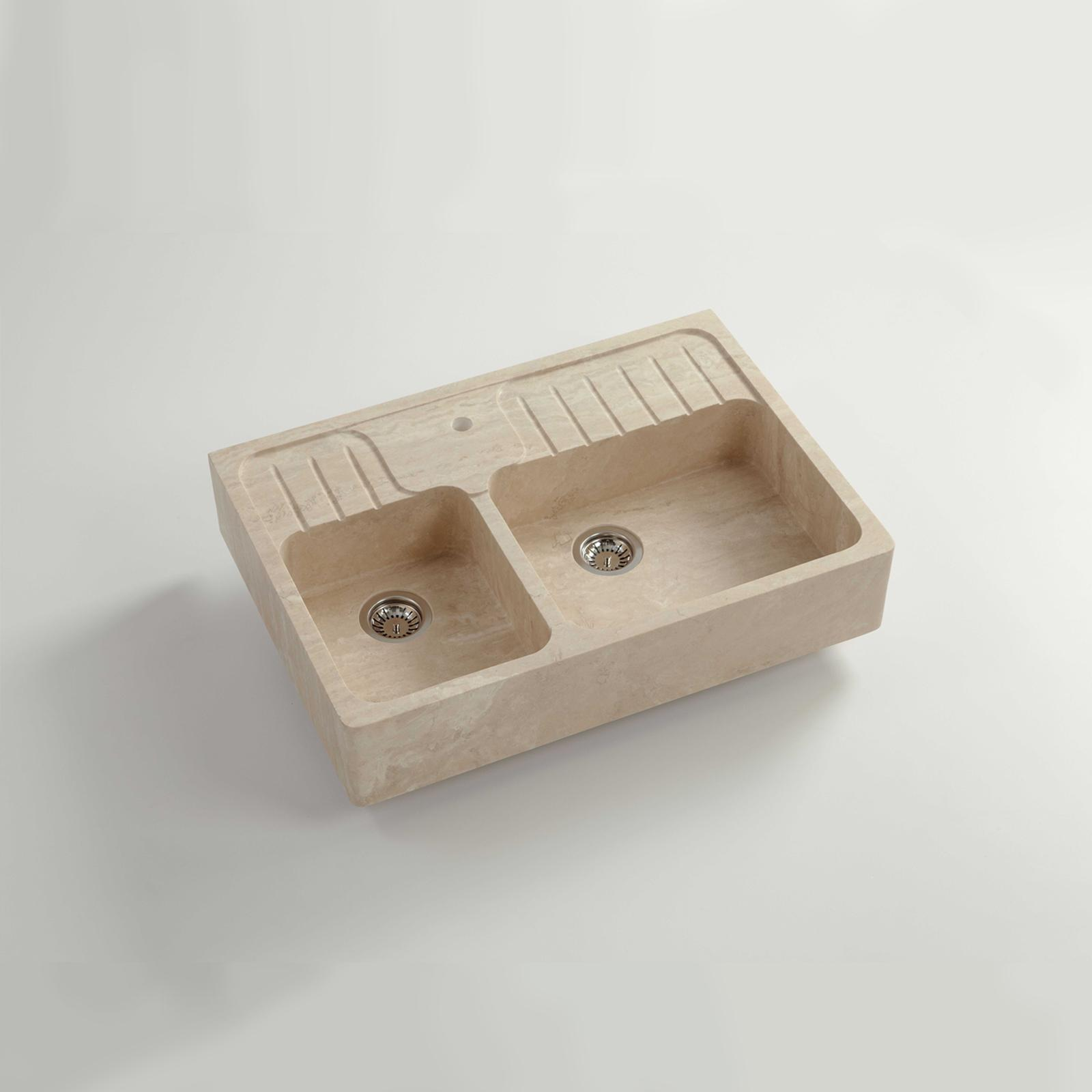 High-quality sink Charles II - one and a half bowl, travertine