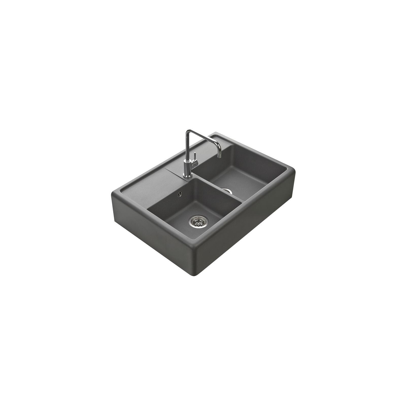 Evier haut de gamme Thibert III granit gris titanium - 2 bacs