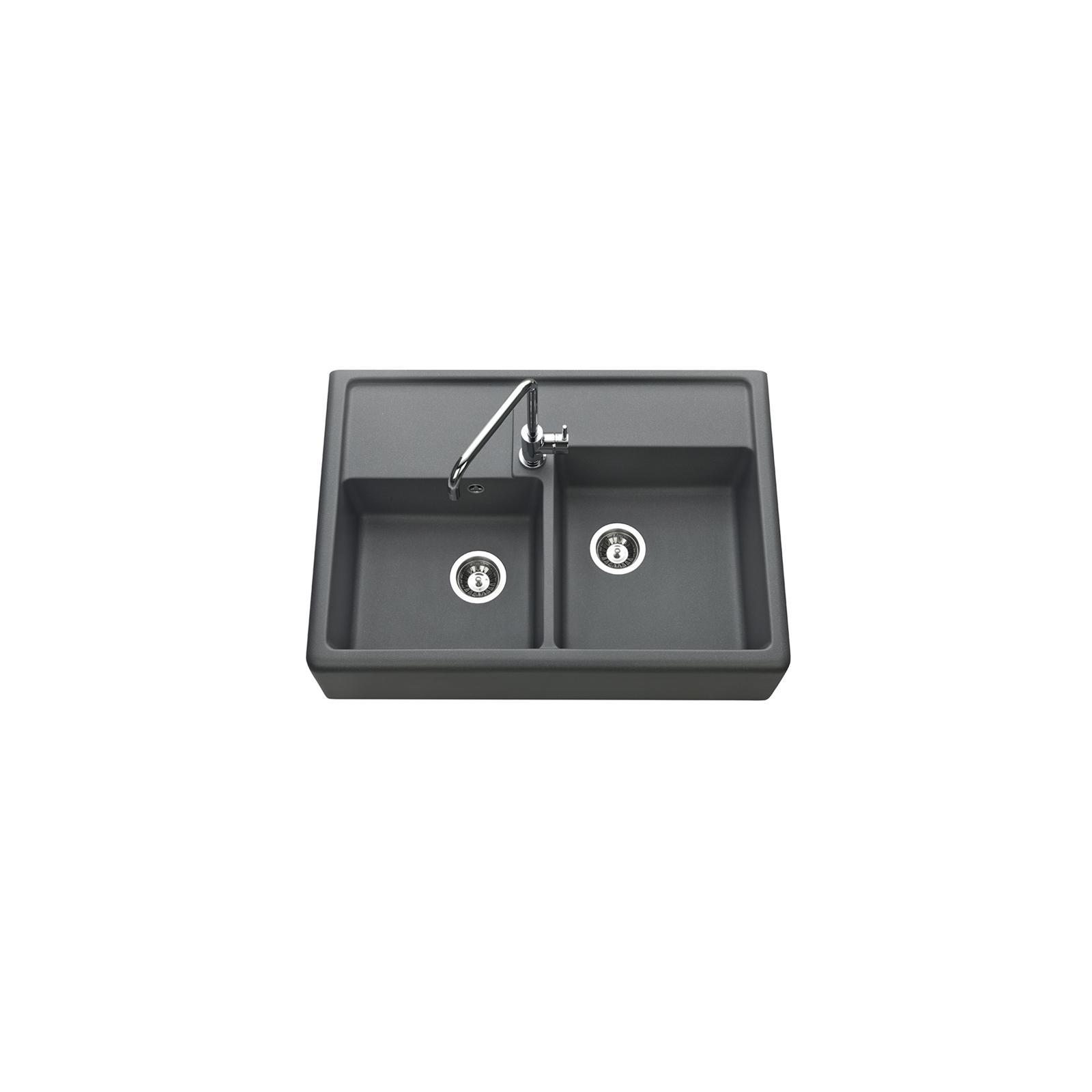 Evier haut de gamme Thibert III granit gris titanium - 2 bacs dessus