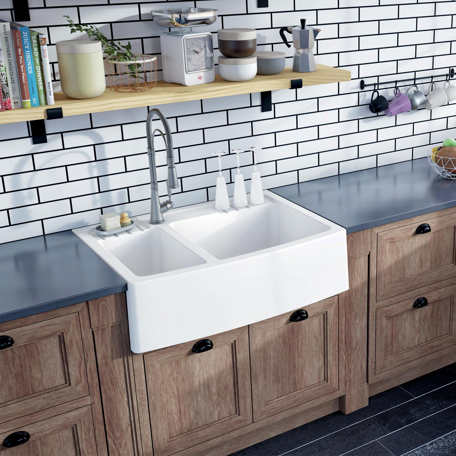 High-quality sink Clotaire III granit white - one and a half bowl - ambience