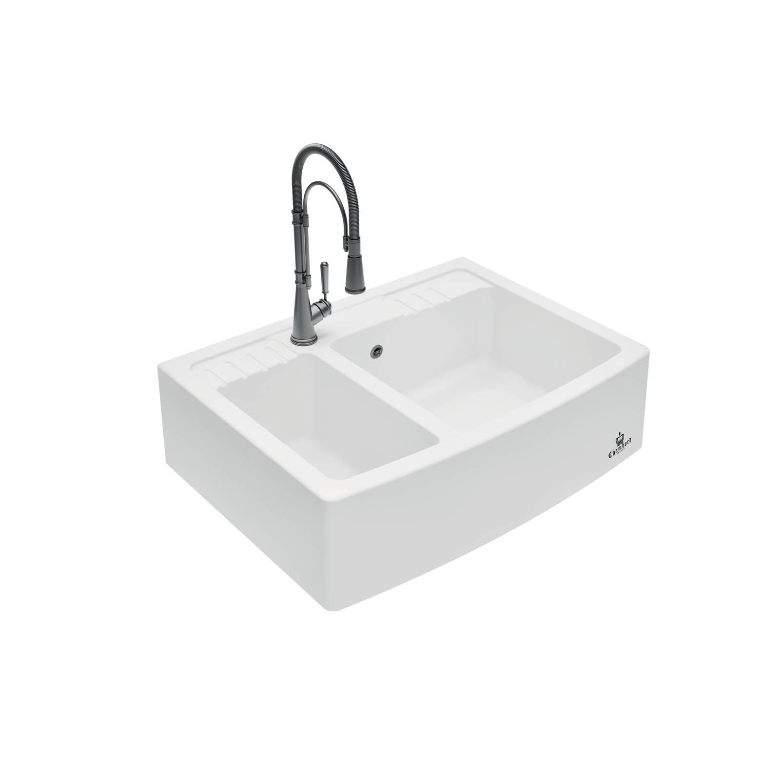 High-quality sink Clotaire III granit white - one and a half bowl