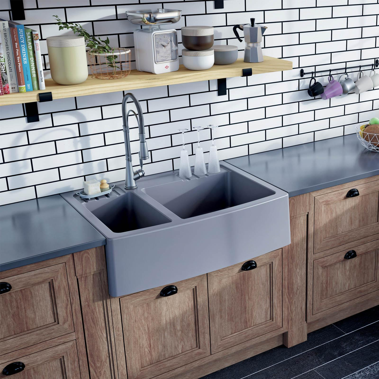 High-quality sink Clotaire III granit titanium - one and a half bowl - ambience
