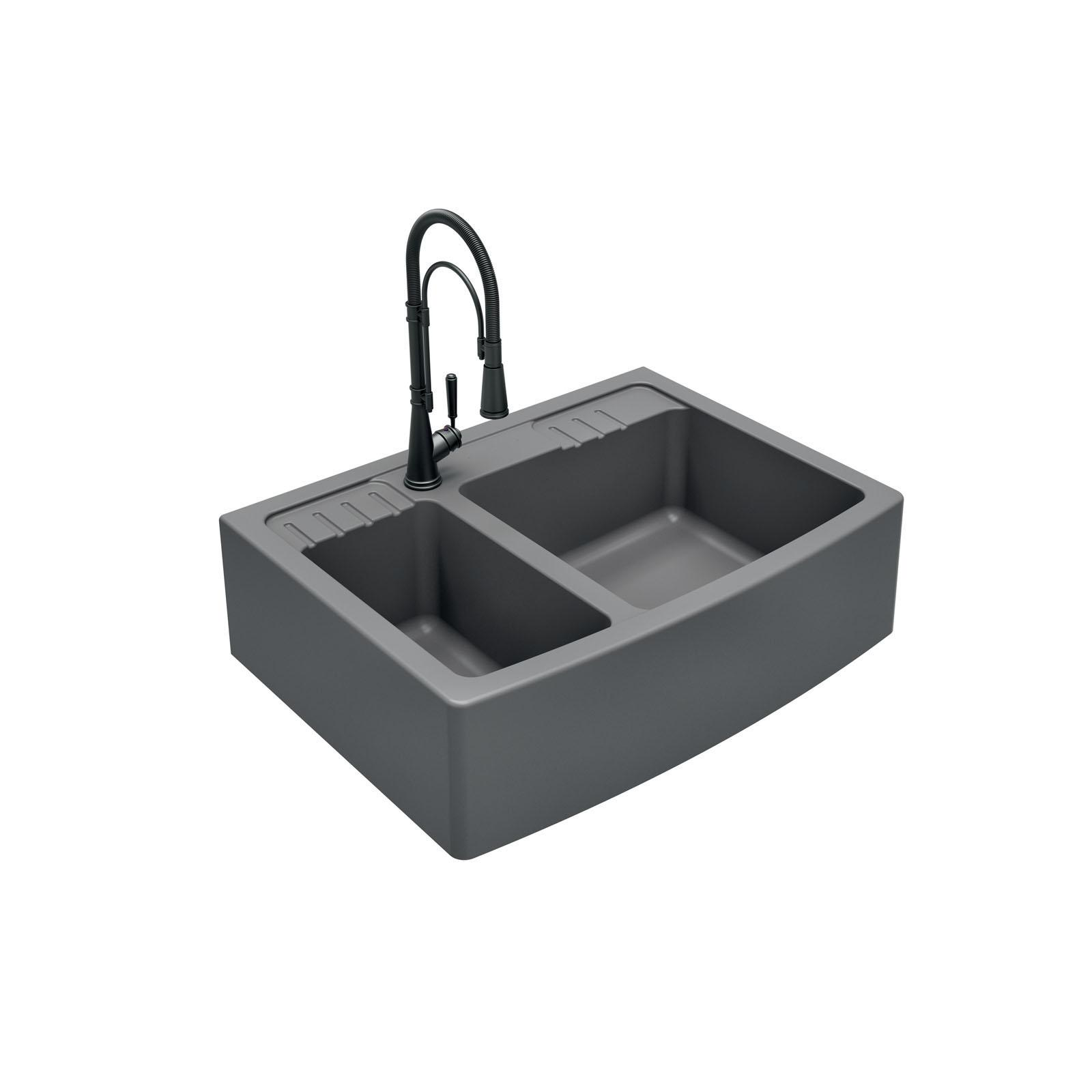 High-quality sink Clotaire III granit titanium - one and a half bowl - ambience 2