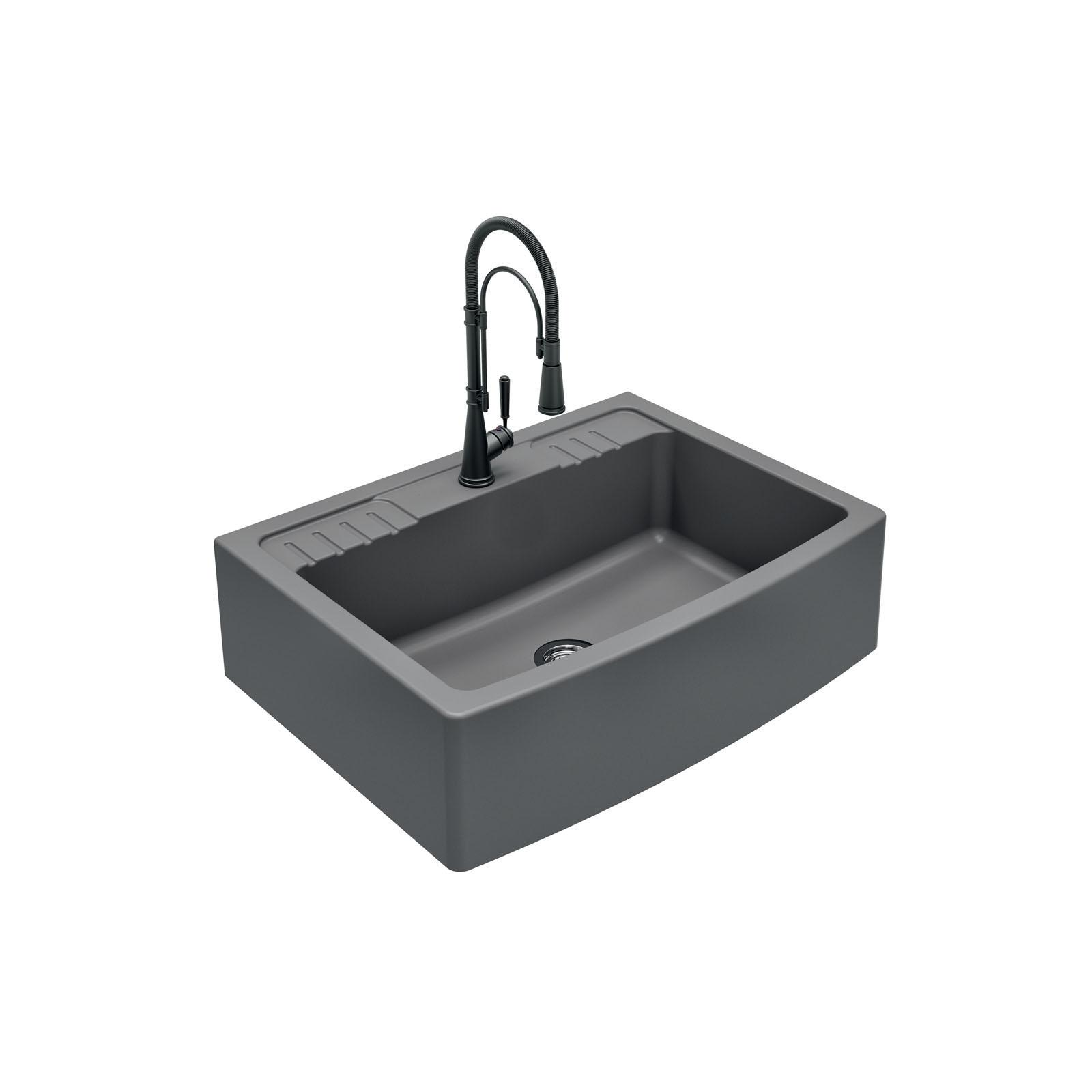 High-quality sink Clotaire IV granit titanium - one bowl - ambience 2