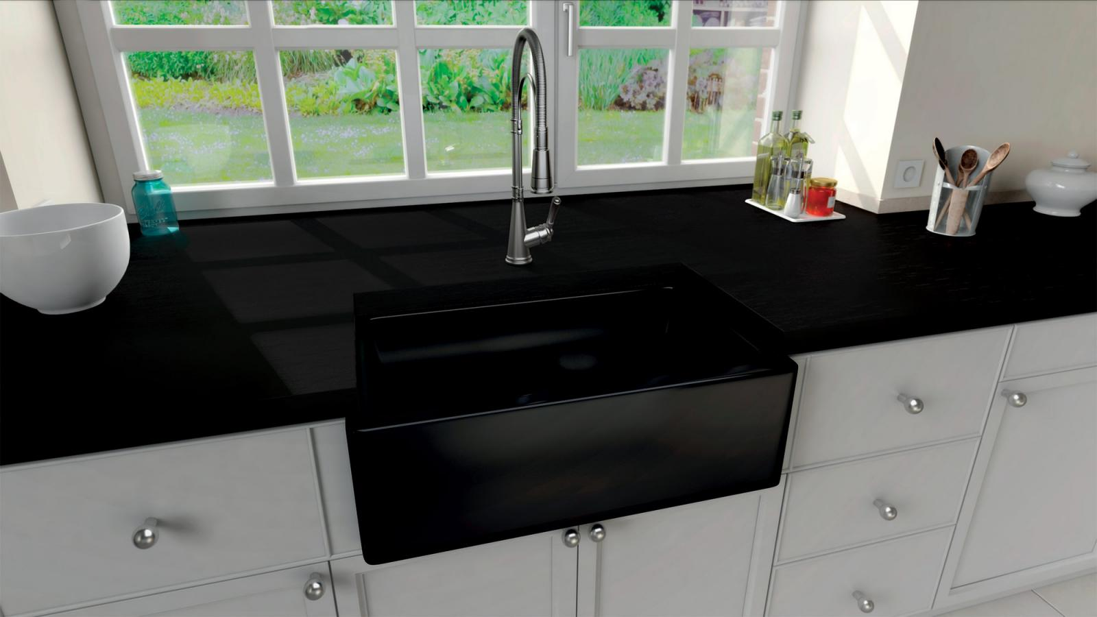 High-quality sink Philippe II Black - single bowl, ceramic - ambience 1