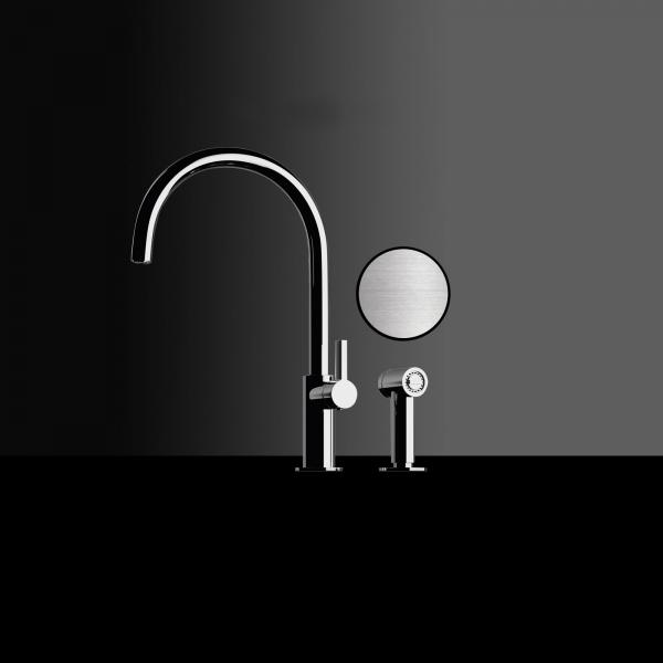High-quality single lever tap Albertine - pull out spray - brushed nickel