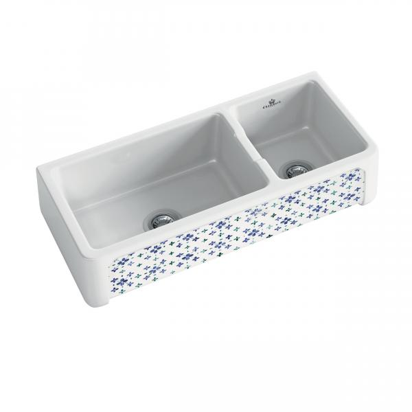 High-quality sink Henri III Bretagne - one and a half bowl, decorated ceramic ambience 1