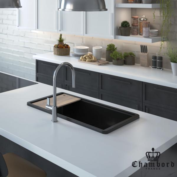 High-quality sink Anne black - single bowl, ceramic - ambient