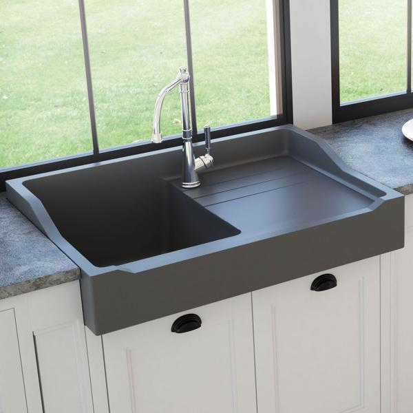 Evier haut de gamme Francois 1er granit gris titanium - ambiance