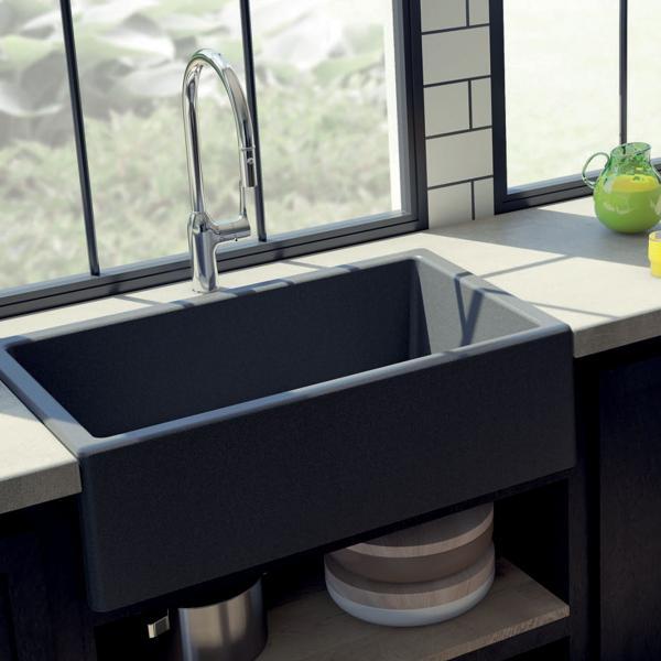 Evier haut de gamme Philippe granit gris titanium - ambiance