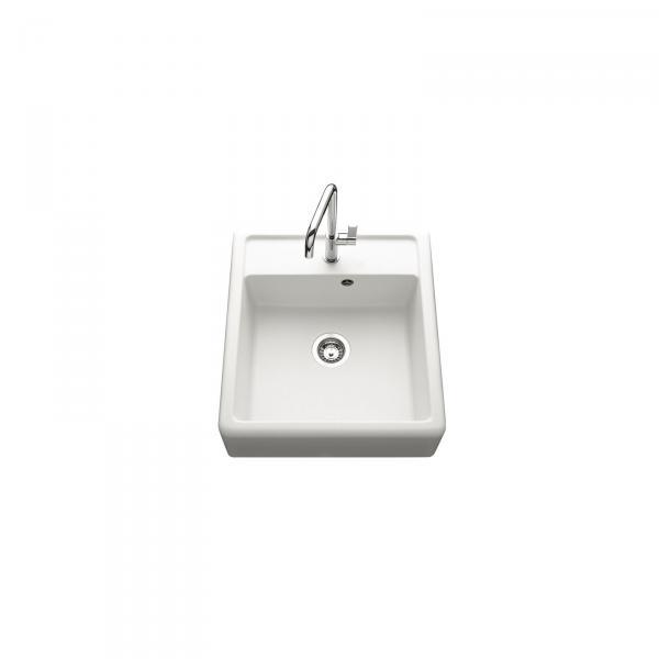 Evier haut de gamme Thibert I granit blanc - 1 bac